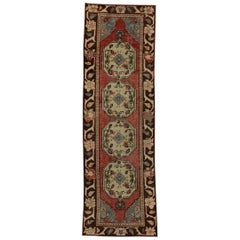 Vintage Turkish Oushak Runner with Traditional Style, Hallway Runner
