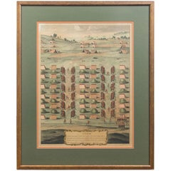 Framed French Cavalry Lithograph, late 19th Century