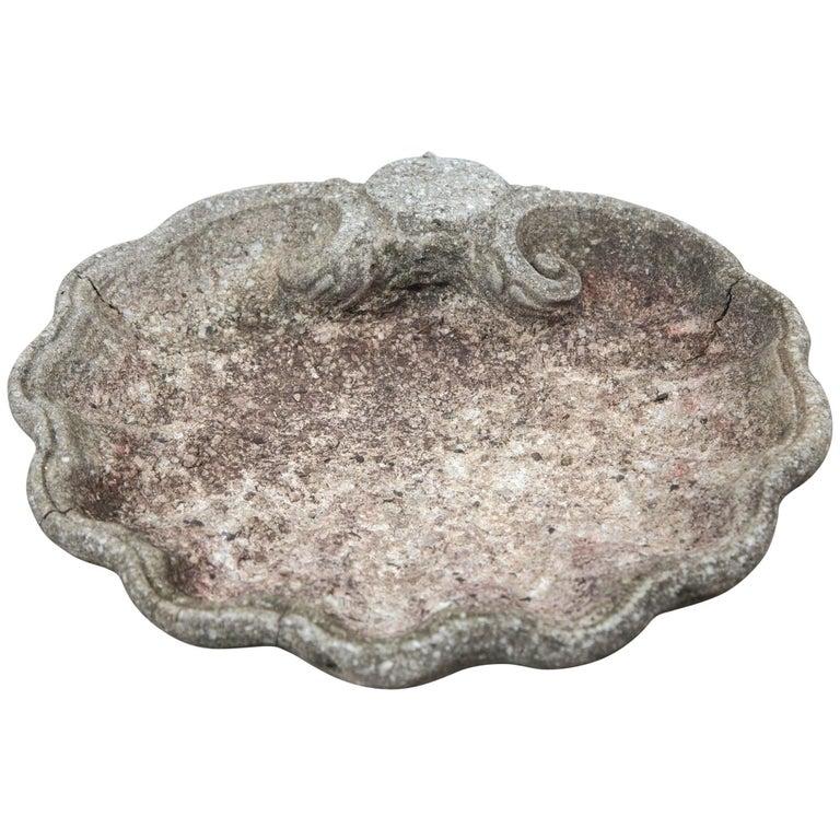 Vintage Cast Stone Shell Form Garden Ornament, Mid-20th Century