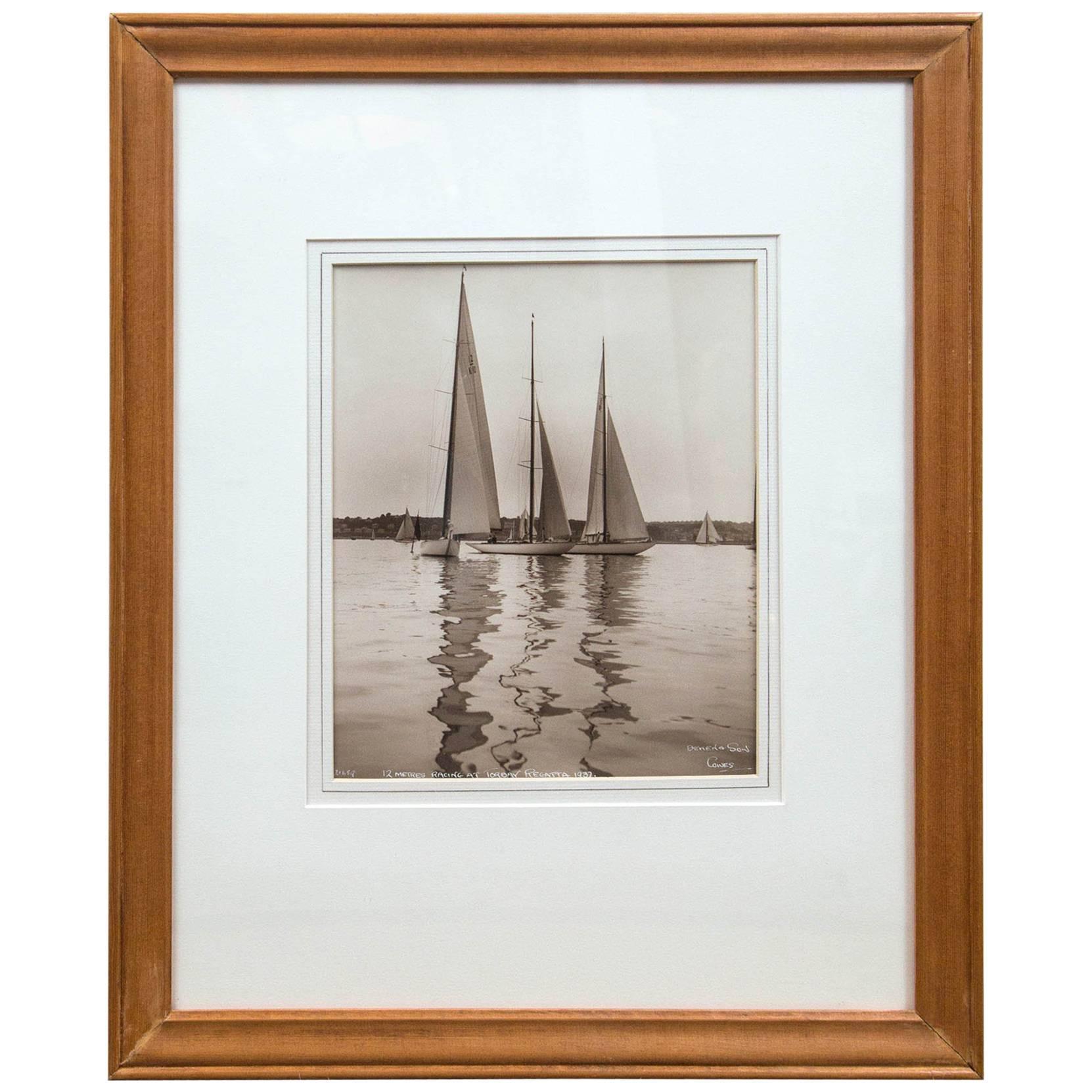 "Framed Vintage Maritime Photograph, ""Torbay Regatta"", England, 1937"