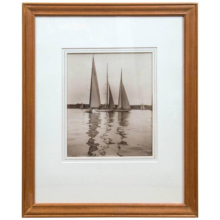 """Framed Vintage Maritime Photograph, """"Torbay Regatta"""", England, 1937 For Sale"""