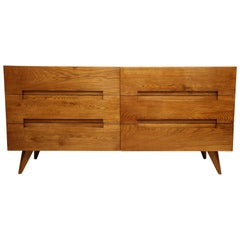 Italian Mid-Century Modern Oak Commode with Six Drawers