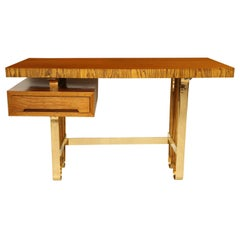 Midcentury Italian Wood Desk with Floating Drawer and Curvy Brass Base