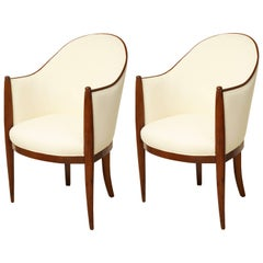Pair of Curved French Art Deco Upholstered Chairs