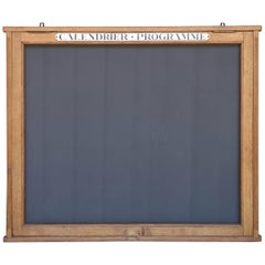 1950s French Chalkboard Calendar or Program Wood Display