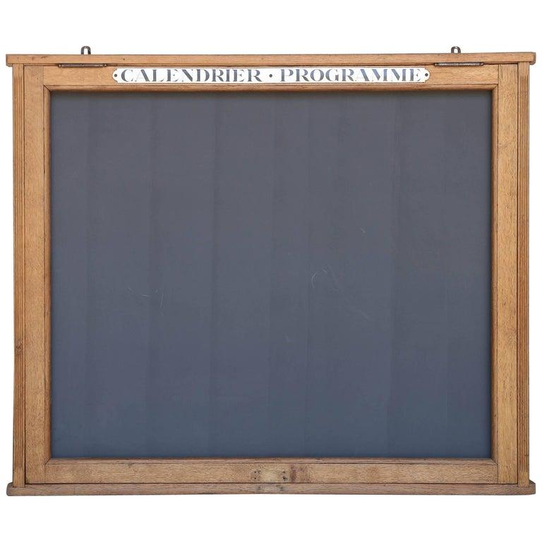 1950s French Chalkboard Calendar or Program Wood Display