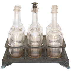 Antique Bottle Holder with Bottles