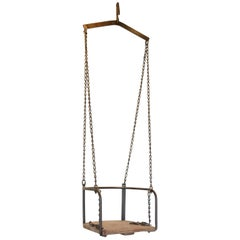 Antique Wood and Metal Child's Swing with Bracket