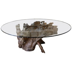 20th Century Beveled Glass Top Table from Tree Root