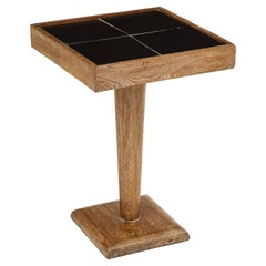 French Deco Cerused Oak Side Cocktail Table Black Ceramic Tile Top, 1940s, 1950s