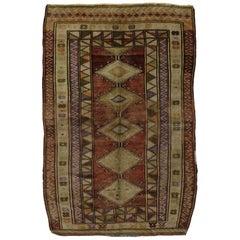 Vintage Turkish Oushak Rug with Tribal Mid-Century Modern Style
