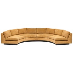 Milo Baughman Semi Circular Two-Piece Sofa Caramel Corduroy Upholstery, 1980s