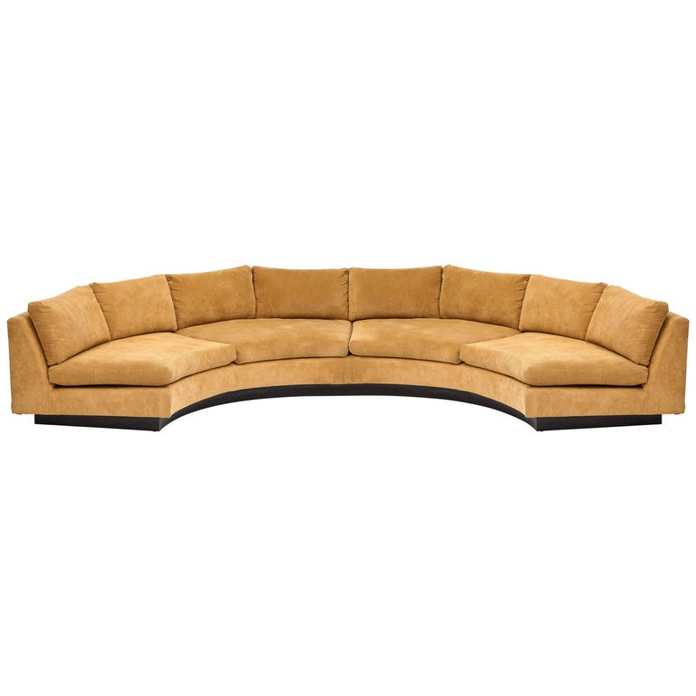 Milo Baughman Semi Circular Two-Piece Sofa Caramel Corduroy Upholstery, 1980s For Sale