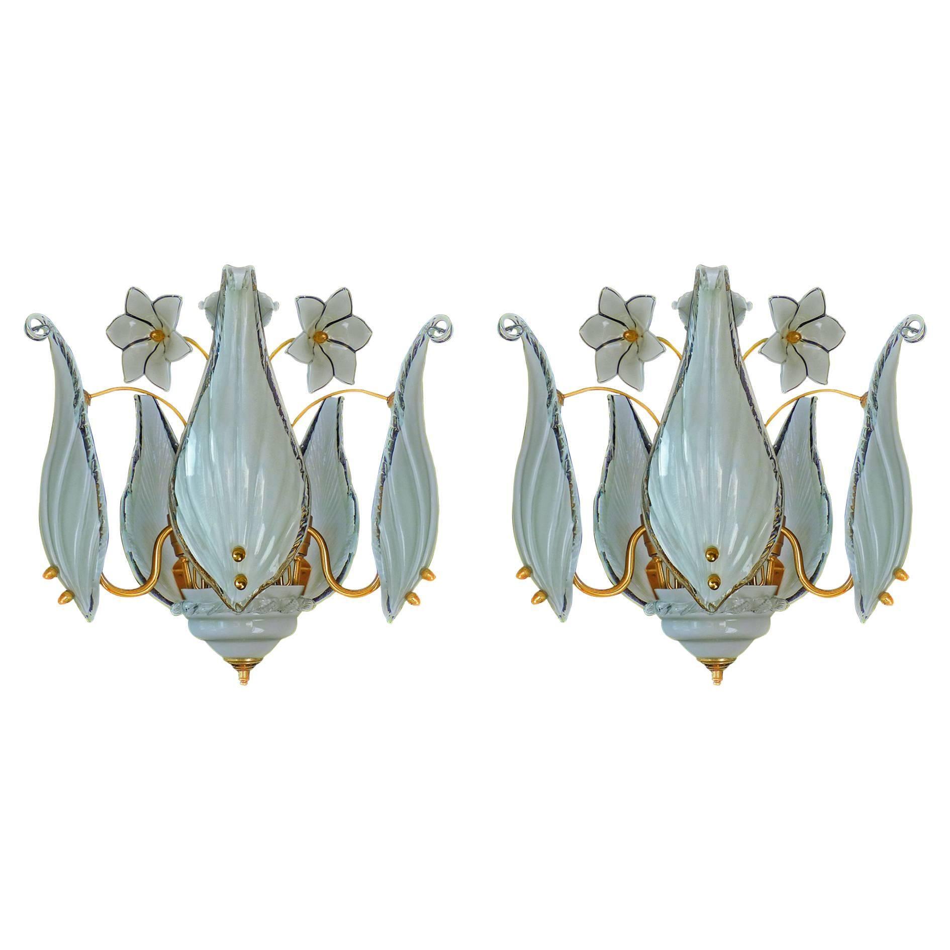 Mid-Century Italian Murano Franco Luce Art Glass and Gilt Brass Chandelier, Pair