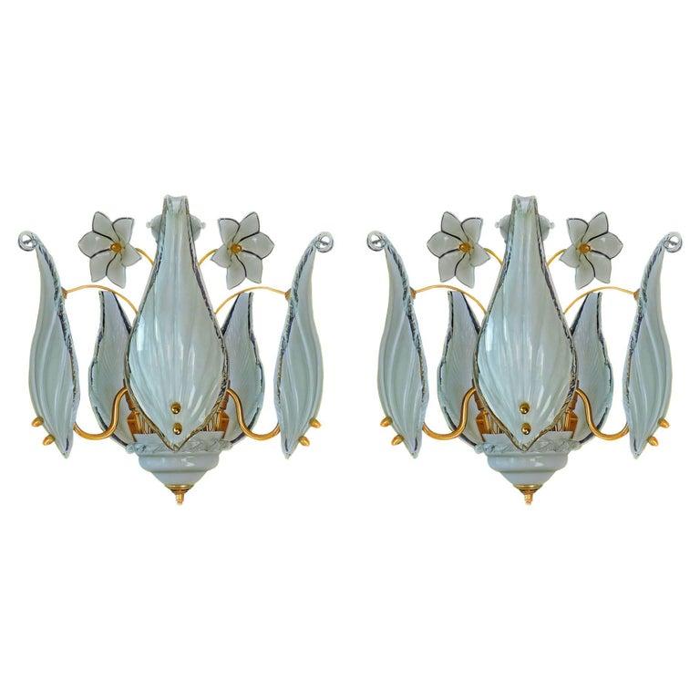 Mid-Century Italian Murano Franco Luce Art Glass and Gilt Brass Chandelier, Pair For Sale