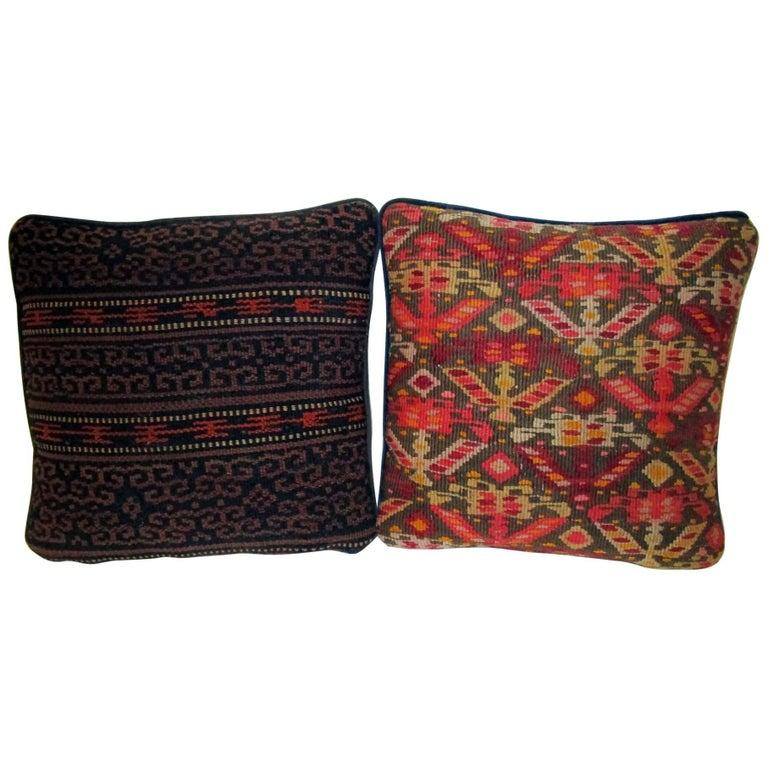 19th Century Turkish Kilim Remnant Pillow, Pair