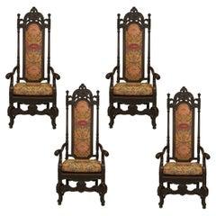 Set of Four English James II Style Walnut High Back Armchairs