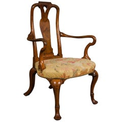 George I Walnut Shepherd's Crook Armchair