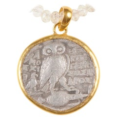 Authentic Greek Tetradrachm Owl Coin Set in 22-Karat Gold Necklace Bezel