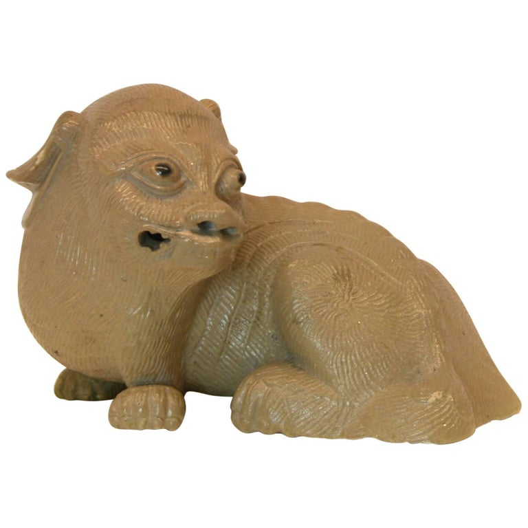 Chinese Shiwan Pottery Ornamental Guardian Lion, Mid-20th Century For Sale