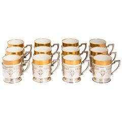 Lenox Demi-Tass Set 12 Sterling Silver Holders, Rare Design