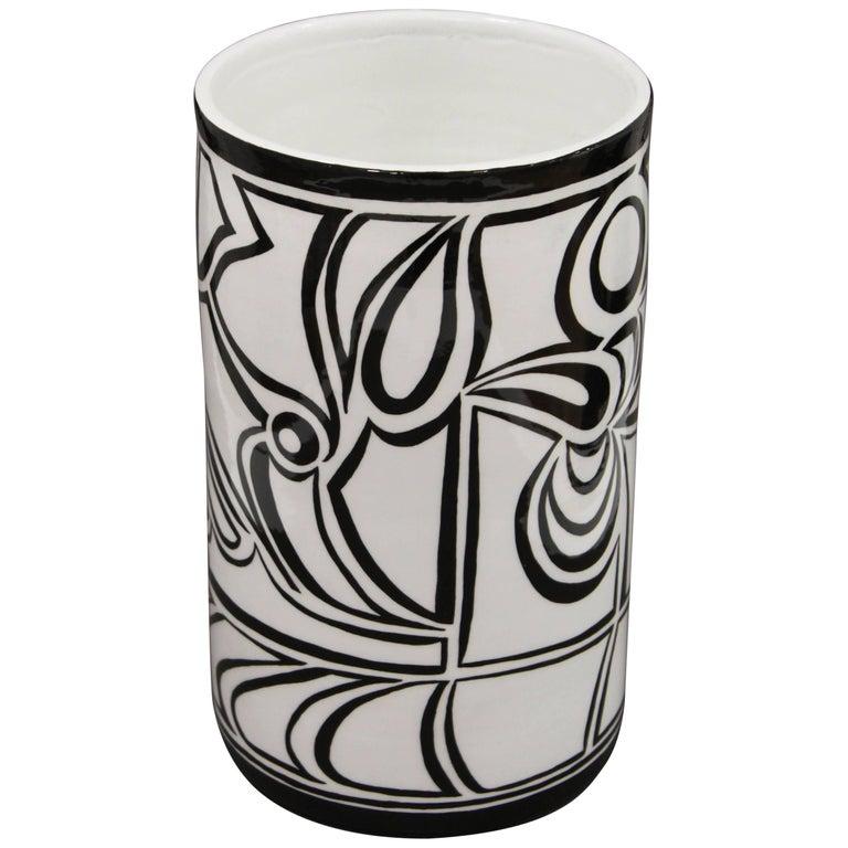 "Resin and Porcelain Cylinder Vase ""Calligraphy Doodle"""