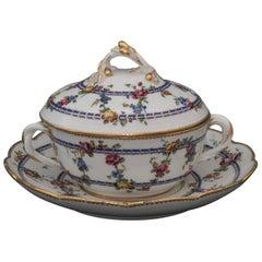 Sevres Porcelain Circular Ecuelle, Cover and Stand, circa 1760-1765