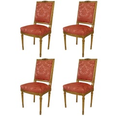 Set of Four Louis XVI Style '19th Century' Giltwood Square Back Side Chairs