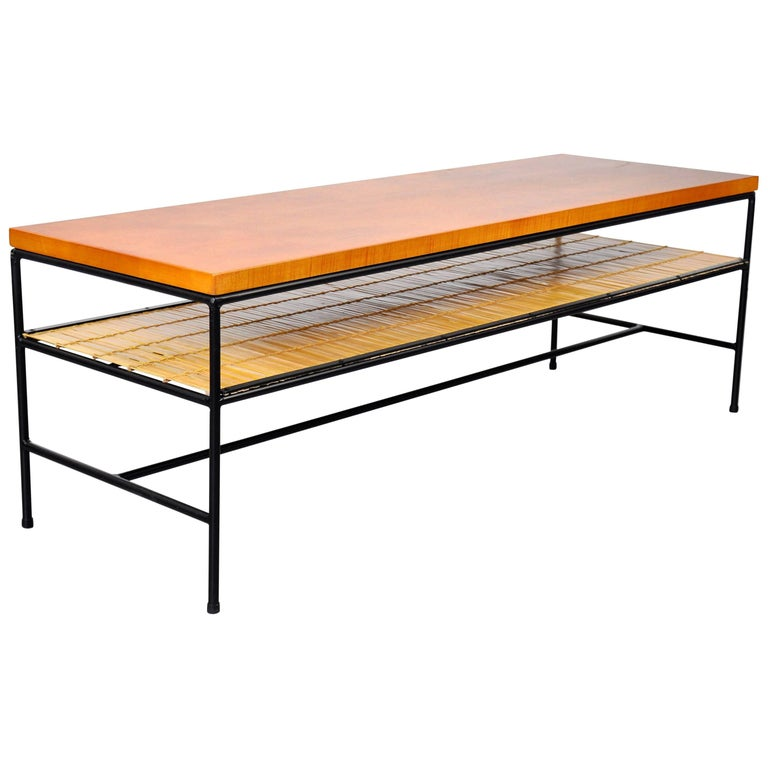 Paul McCobb Winchendon Iron and Maple Coffee Table For Sale