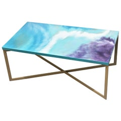 "Contemporary Resin Coffee Table ""Turquoise Mood"" on Satin Steel Base"