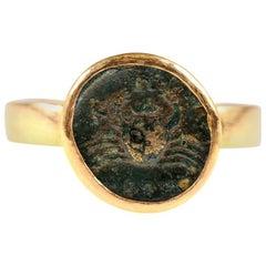 Ancient Bruttium Coin with Crab Design Set in 22-Karat Gold Ring