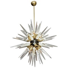 Murano Clear Glass Spike Sputnik Chandelier