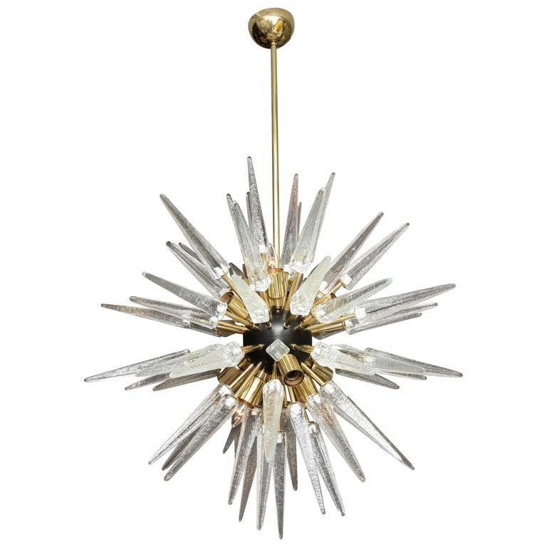 Custom Murano Clear Glass Spike Sputnik Chandelier