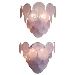 Iridescent Pink Murano Glass Disc Sconces