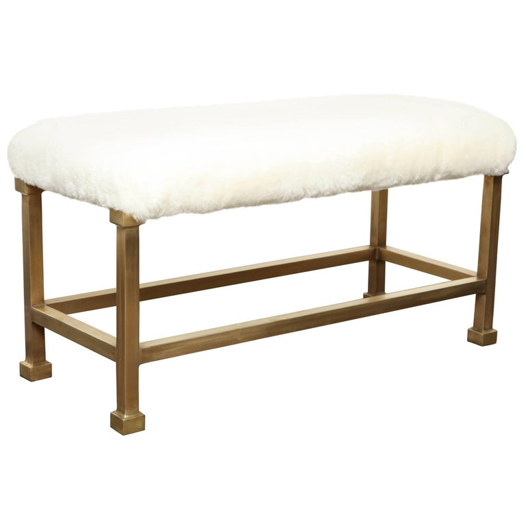 Custom Shearling Bench with Brass Base