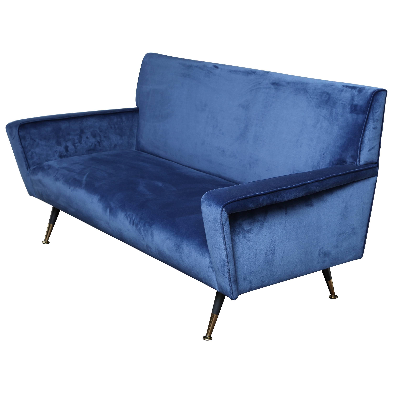 Custom Blue Velvet Settee