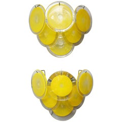 Pair of Yellow Murano Glass Disc Sconces