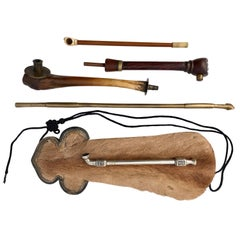 Collection of Five Chinese Opium Travel Pipes and Yak Fur Pouch, 1800s