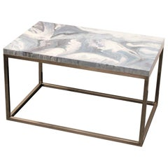 "Contemporary Resin Coffee Table ""Sea Marble"" on Satin Stainless Steel Base"