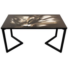 "Colored resin Dining Table ""Swans' Promenade"" with black satin steel base"