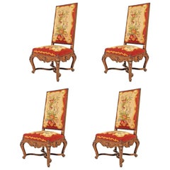 Set of Four French Regency Style '19th Century' Walnut High Back Side Chairs