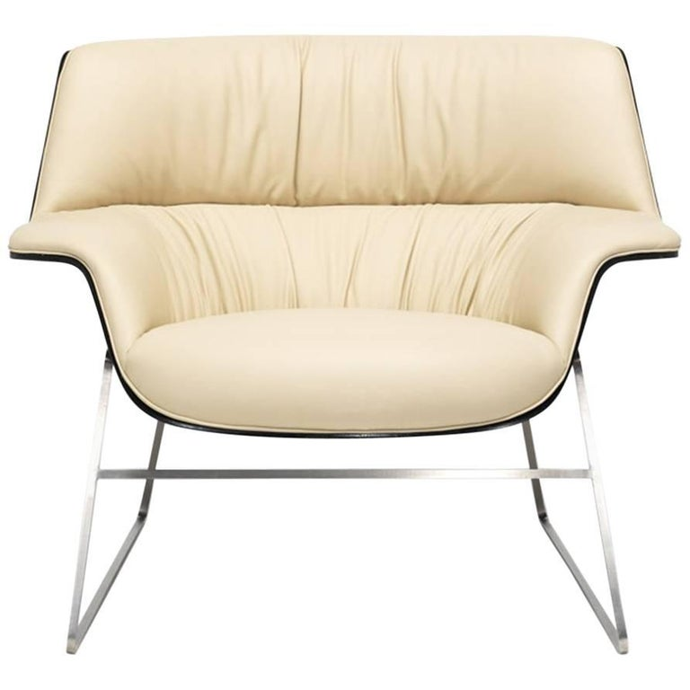 Saint Luc 'Coach' Lounge Chair in Ivory by J.M. Massaud