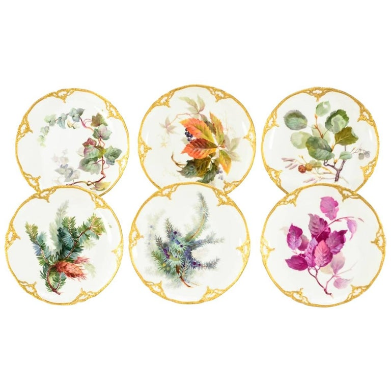Set of Six Signed KPM Dessert Plates with Named Plant Species