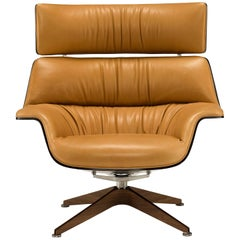 Saint Luc 'Coach' Lounge Chair with Headrest in Ochre by J.M. Massaud