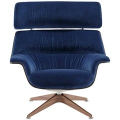 Saint Luc 'Coach' Lounge Chair with Headrest in Navy by J.M. Massaud