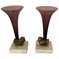 Pair of Gorgeous Antique Amethyst Glass, Bronze and Marble Garnitures