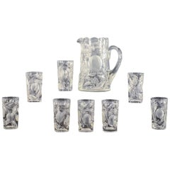 Set of Eight Hawkes Gravic Hand Blown Crystal Tumblers and Matching Pitcher