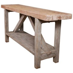 19th Century Painted Primitive Serving Table
