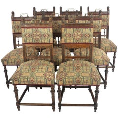 Antique Dining Chairs, Oak Dining Chairs, Vintage Chair,s France 1890, B1121