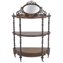 Antique Etagere, Three-Tier Walnut Display, Barley Twist, Scotland, 1870
